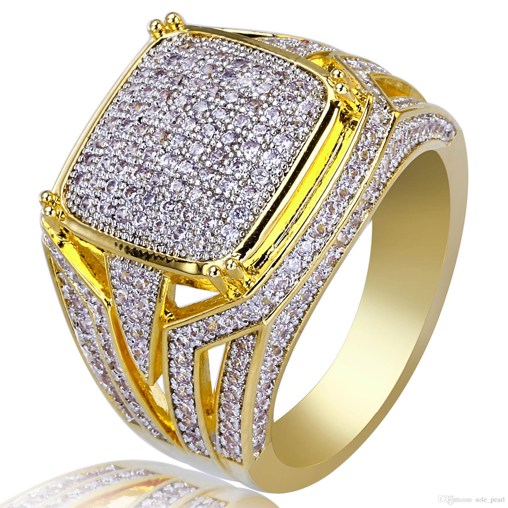 New Mens Ring Vintage Hip Hop Jewelry Zircon Iced Out