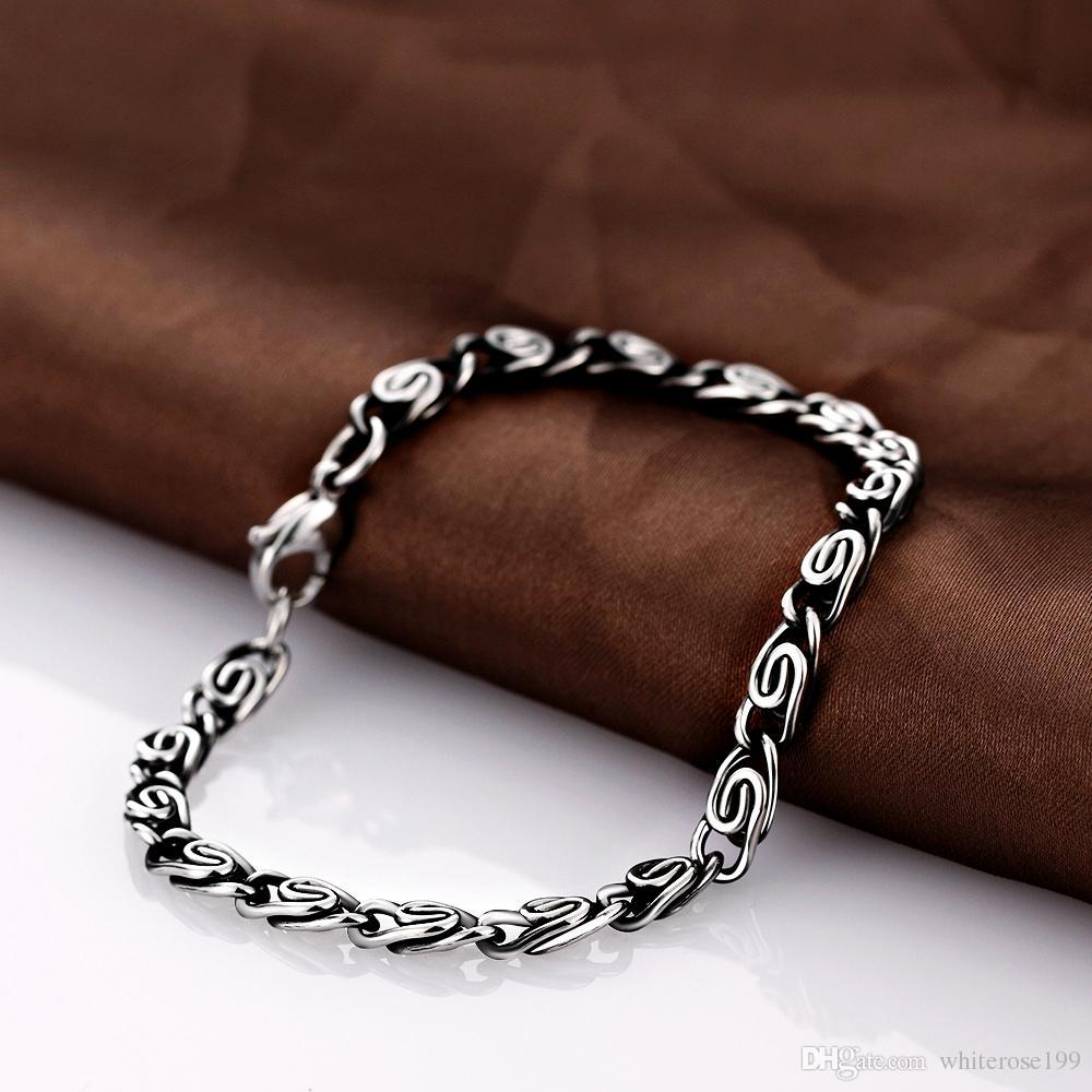 925 Sterling Silber gedruckt verzinnt Hufeisen Armband Schmuck, Damen lieben Geschichte Geschenk, High-End-Herren Armband H019