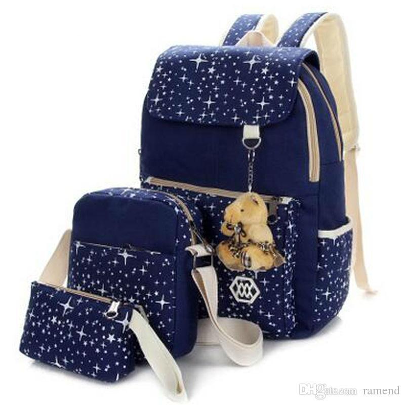 526f9ba25bc Wholesale- Star Shape Fashion Schoolbags+pencil Bag Set girl Boy Bookbag Floral  Backpack Sets school Shoulder Bag Bag in Bag Handbag Organizer Bag Toilet  ...