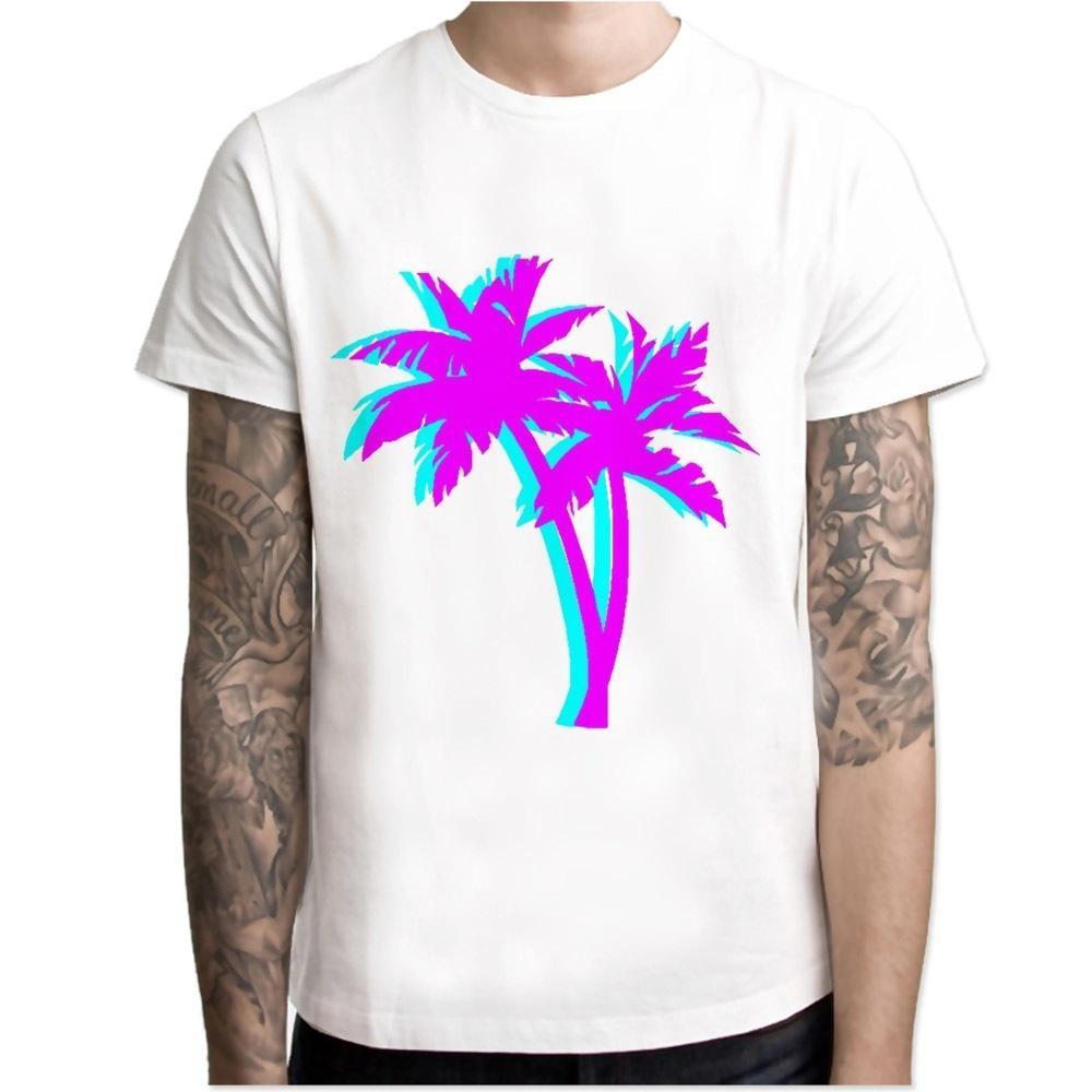 5cec549b8b Vaporwave Palm Tree t shirt men cartoon 2017 cool funny white tshirt print  T-shirt men Tees M7R1255