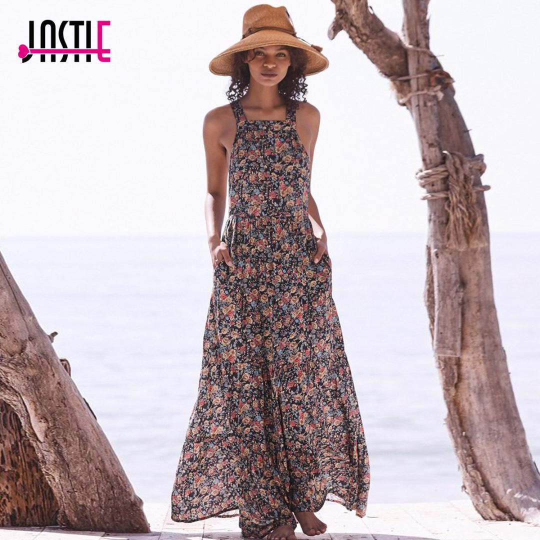 ed0027157fa8 2019 Jastie Vintage Inspired Floral Print Dress Sexy Crossed Back Gorgeous  Maxi Dresses Boho Casual Beach Dress Women Vestidos 2018 From Cute08