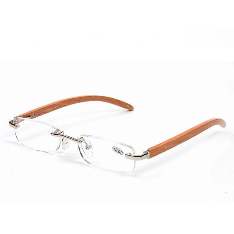 0cb15d6ef4191 Fashion Bamboo Legs Rimless Reading Glasses Frameless Eyeglasses Silver  Women Men Eyewear Eye Reader Wooden Temple +1.0~+3.5 Strength