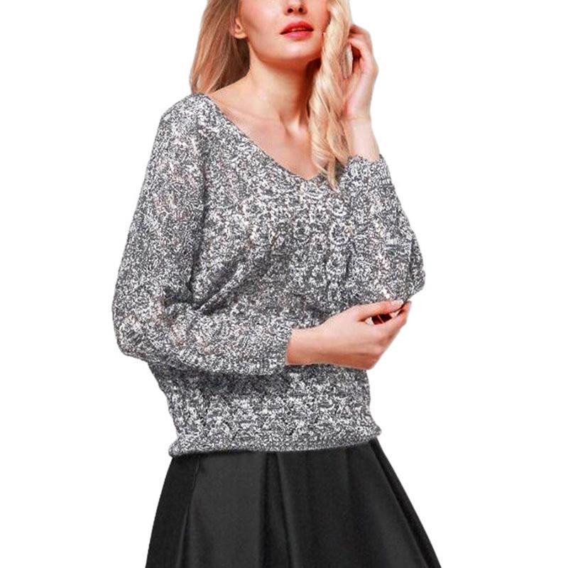 ec52731afebff Autumn And Winter New Loose Women s Sweater V-neck Hollow Bat Sleeve ...