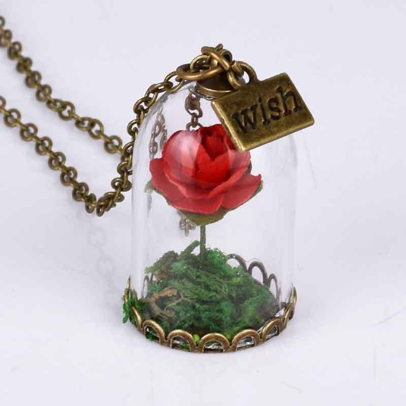 Wholesale red rose crystal wish necklace jewelrypretty girlsretro wholesale red rose crystal wish necklace jewelrypretty girlsretro dry flower necklace beauty wholesale and dropshipping gold charms heart necklaces from mozeypictures Choice Image
