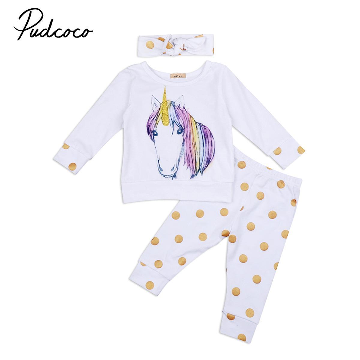 35b02714b0118 2019 Babies Unicorn Clothing Set Newborn Baby Boy Girl Kid Unicorns Polka  Dots Outfit Clothes T Shirt Top Pants Headband Sets From Mobiletoys, ...