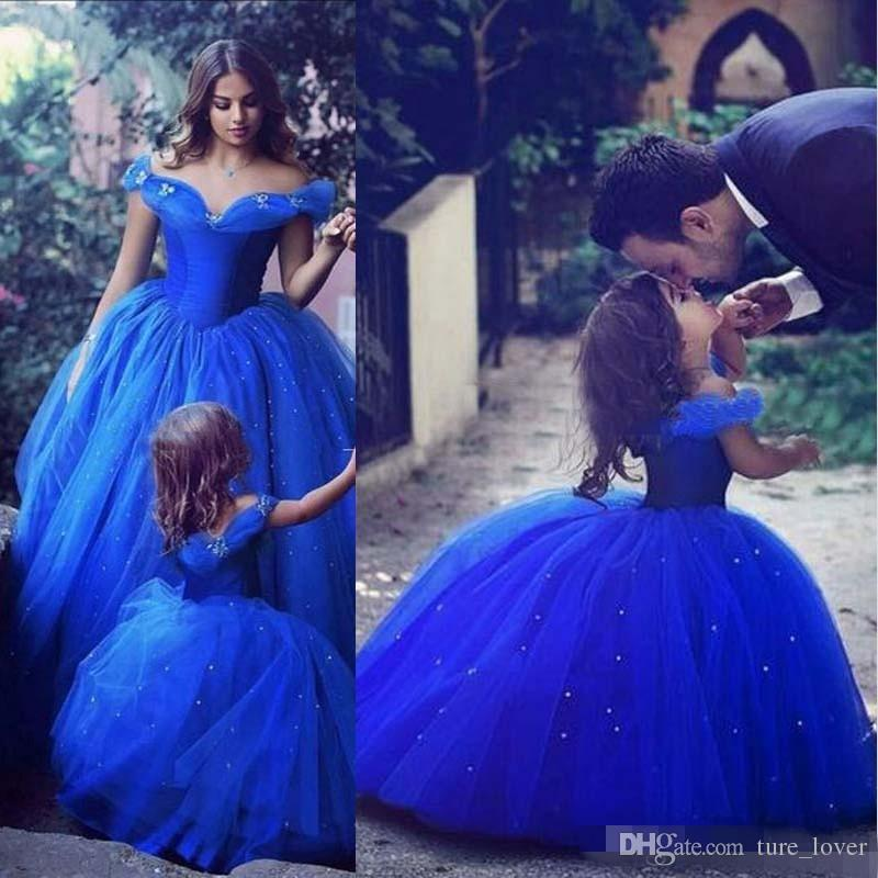 Cute Royal Blue Ball Gown Girls Pageant Dresses Off Shoulder Tulle Floor Length Toddler Birthday Dresses 2017 New Cupcake Dress