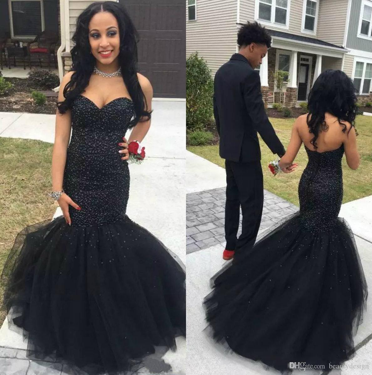47493c4e98643 Black Girl African Mermaid Prom Dresses 2018 Long Major Beading Formal  Dress Evening Wear Plus Size Party Gowns Robes De Soirée Sexy Long Prom  Dresses Short ...