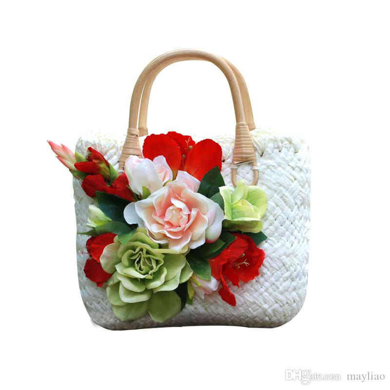 Straw Bag Handbag 2018 Summer Crochet Straw Beach Bags Handbags Women  Famous Designers 3D Flowers Woven Tote Hand Bags Woman Fashion Handbag  Black Handbag ...