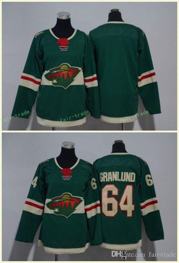 new concept f2d81 49f16 Minnesota Wild 64 Mikael Granlund Jerseys Blank Green All Stiched Hockey  Jersey Men Women Youth Kids Boy Girls