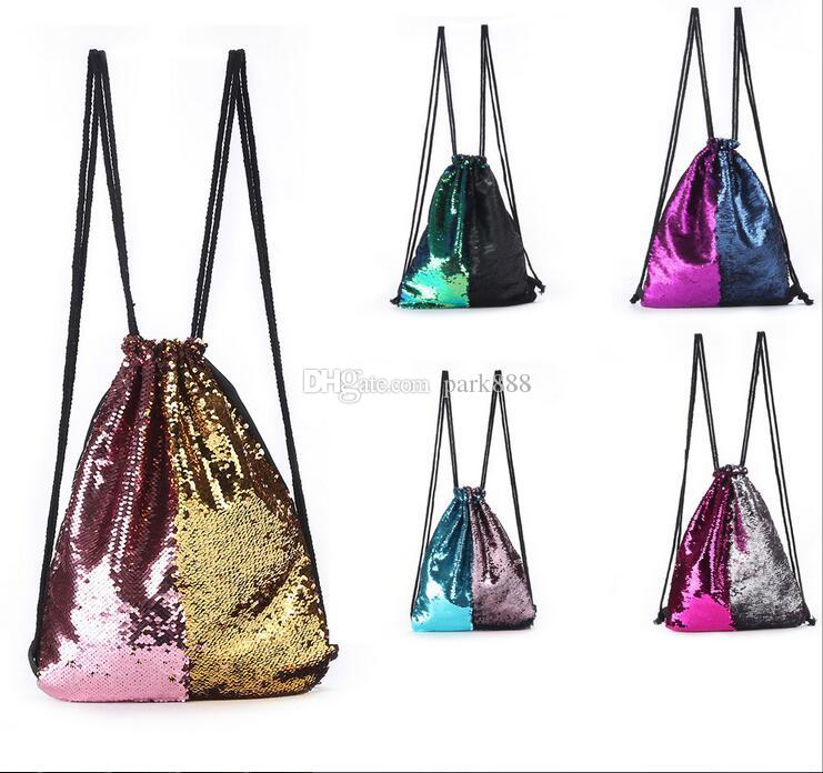 Double color Mermaid Sequin Backpack Sequins Drawstring Bags Reversible Paillette Outdoor Backpack Glitter Sports Shoulder Bags Travel Bag