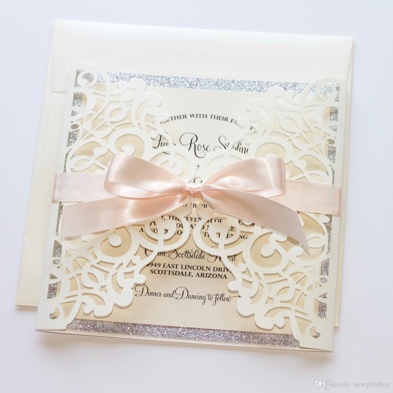 Blush Ivory Shimmer Silver Glitter Laser Cut Wedding Invitations ...