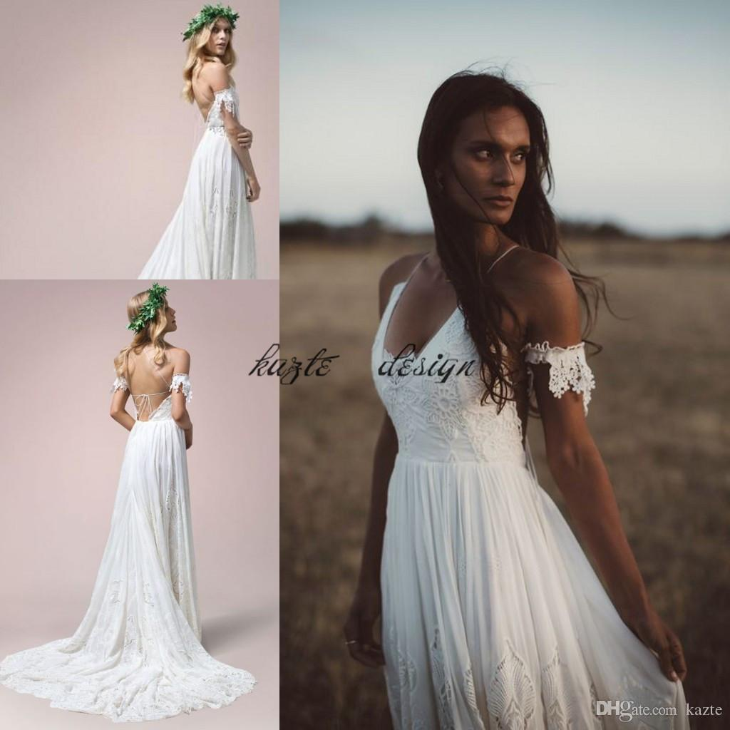 Discount Vintage Crochet Lace Chiffon Beach Holiday Wedding Dresses