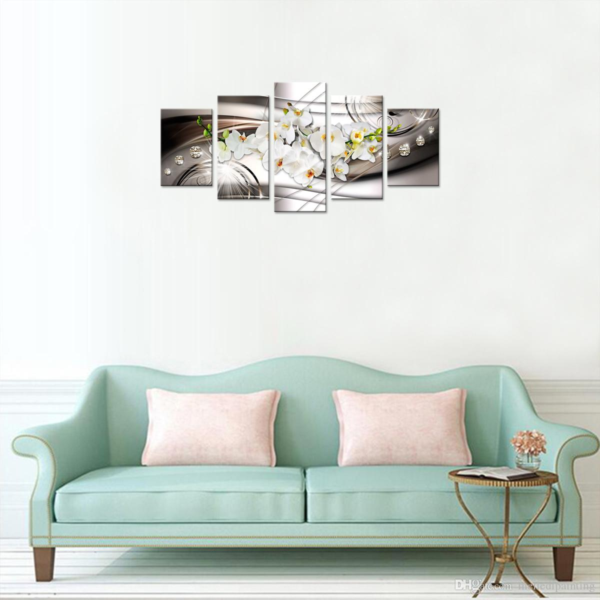 Amosi Art Butterfly Orchid Flowers Canvas Print Wall Art White Floral Painting Decor Diamond Crystal Wall Picture for Living Room Unframed
