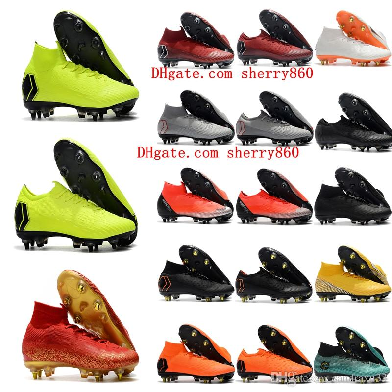 c0c47f36eb4 2018 Mens Soccer Cleats Mercurial Superfly VI Elite SG AC Football Boots  Cr7 Neymar Soccer Shoes Chuteiras High Ankle Botas De Futbol Black Brown  Boots ...