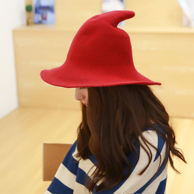 Along The Sheep Wool Cap Knitting Fisherman Tall Hat Qiu Dong Female  Fashion Witch Pointed Basin Bucket Hat Accessories Kentucky Derby Hat Cheap  Hats From ... 9d3cfb8573c