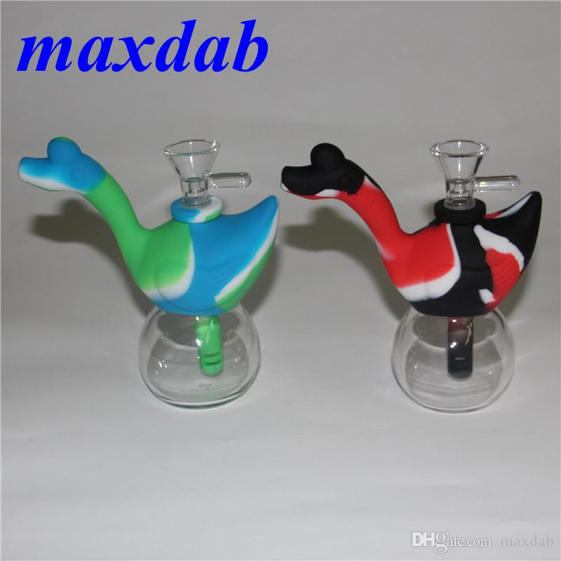 Swan Shape Silicone water Pipes for Smoking Unbreakable Water Percolator oil rig Bong Smoking Pipe Silicone dab Rig