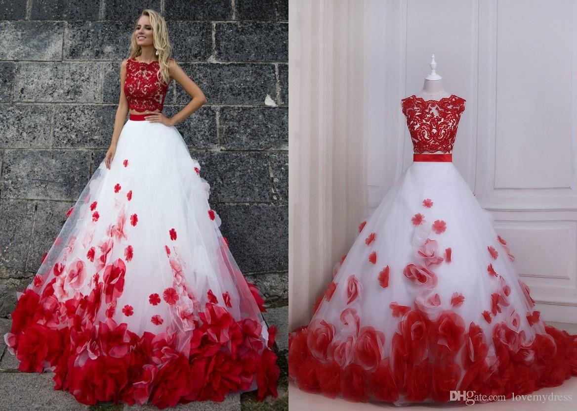 Red and white ball gown prom dresses two pieces new cheap jewel neck