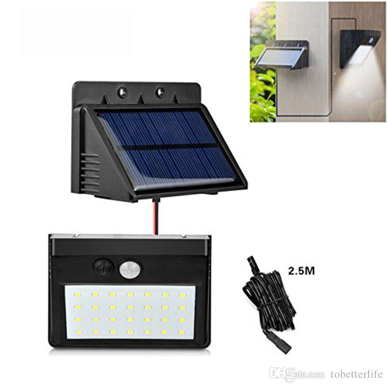 2019 Solar Powered Led Wall Light Pir Motion Sensor 28 Leds Split Solar Street Light With Separable Solar Panel And 8ft Extension Cords From