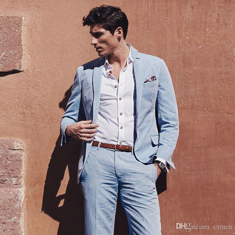 Latest Designers Blue Linen Men Suits 2018 Wedding Summer