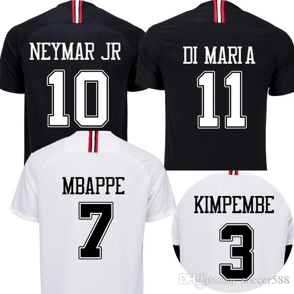 2019 18 19 Black White Maillot Psg 3rd Soccer Jerseys 2019 Maillot De Foot  MBAPPE CAVANI Kimpembe Jersey 18 19 DI MARIA Football Kit Soccer Shirt From  ... 7ff75a044