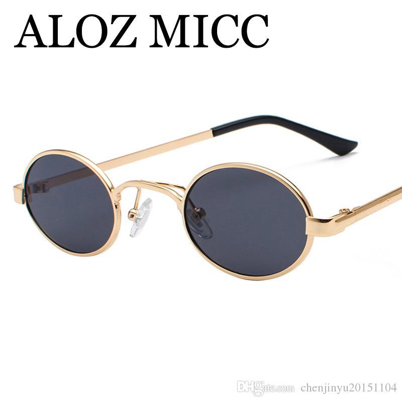 13c810e1b6e55 Compre ALOZ MICC 2018 Pequeno Rodada Óculos De Sol Das Mulheres Dos Homens  Do Vintage Designer De Marca Oval Armação De Metal Óculos De Sol Feminino  Oculos ...