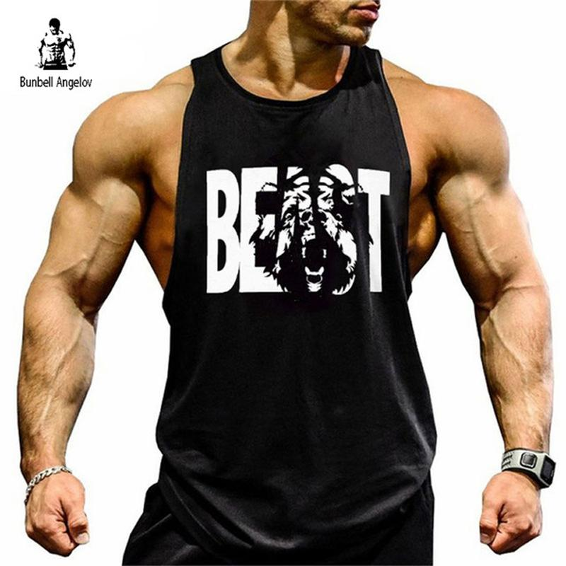 2018 Bunbell Angelov Gyms Tank Top Men Bodybuilding Fitness Print Bear Singlet Muscle Crossfit Cotton Workout Clothing From Dolylove