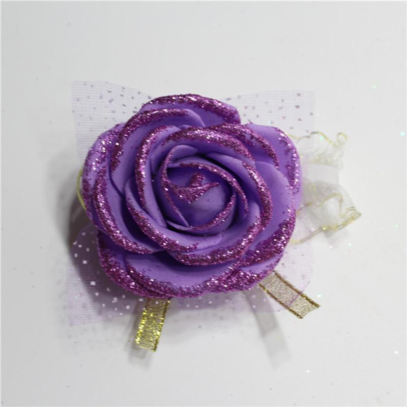 En gros Main Artificielle Mousse Rose Fleur Demoiselle D'honneur Soie Rose Bracelet pour Femmes De Mariée Bracelet De Noce Décoration De Partie