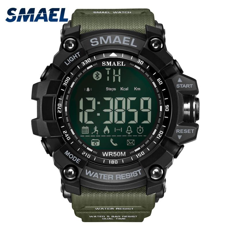 Wholesale-50Meters Swim Dress Sport Watches Smael Brand Army Green Style Bluetooth Link Smart Watches Men Digital Sport Male Clock 1617B