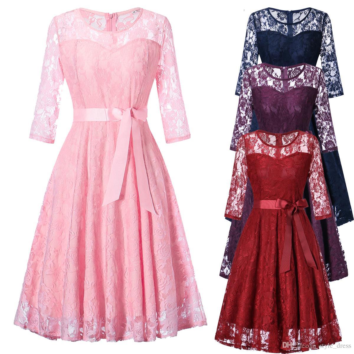 Compre Vestido De Fiesta De Encaje Floral De Las Mujeres Vestido De ...