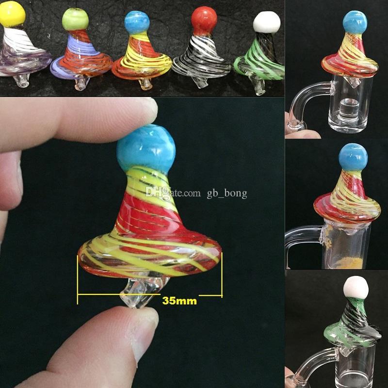 Universal Solid Color Stripe glass UFO Carb Cap dome XL XXL Diameter 35mm For 4MM Quartz banger Nails Colorful Dab Rig.