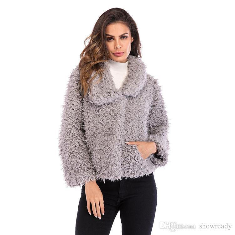 7b9ced6d0 Compre O Novo Casaco De Lã De Lapela Para As Mulheres Inverno Quente Moda  Cor Sólida Selvagem De Manga Comprida Curto Casaco Peludo Das Mulheres.