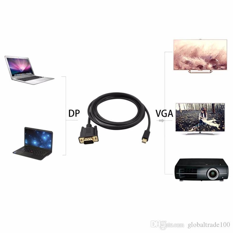 1,8 M Thunderbolt Mini Display Port auf VGA Adapter Kabel 1080 P Stecker auf Stecker Mini DP auf VGA Konverter Adapterkabel für Macbook