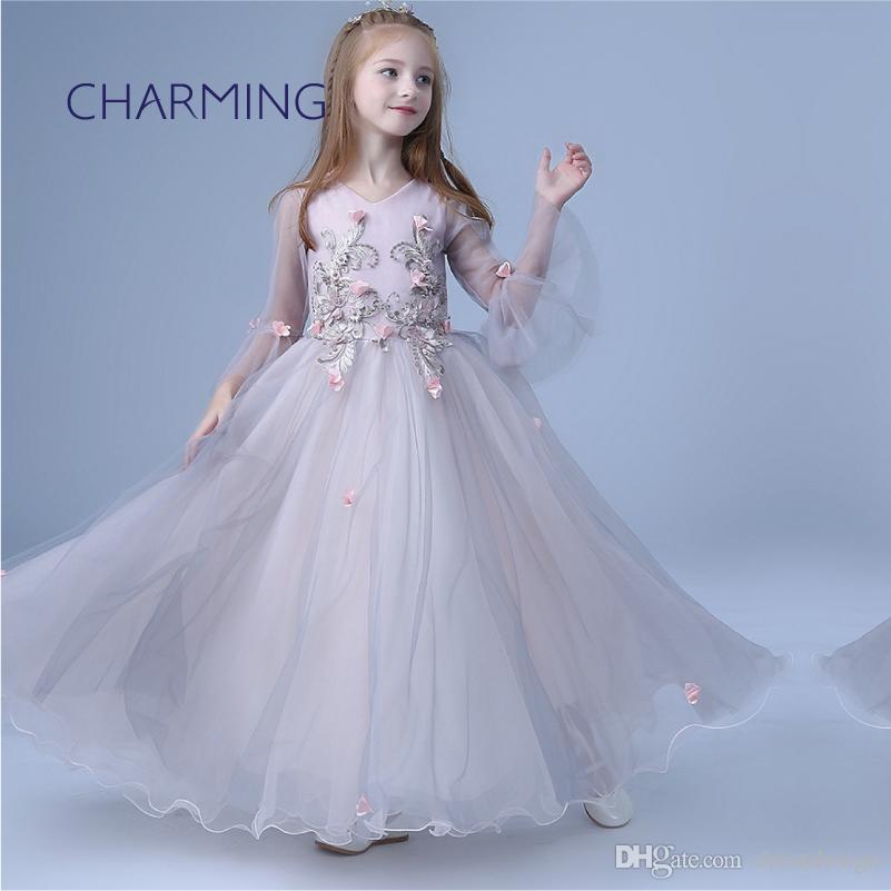 c397558d1 Meninas vestido maxi Fit vestido de princesa vestidos de menina de flor  show de desempenho de piano saia V estilo pescoço vestidos de manga longa  para ...