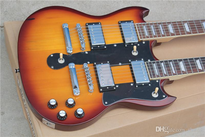 Factory Custom new High Quality Double Neck 1275 Sunburst 6/12 strings Electric Guitar 16 131