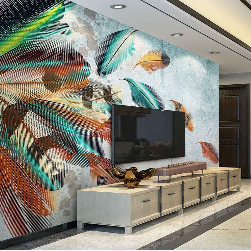 Living Room Bedroom Tv Wall Papers Modern 3d Wall Decor Art Mural ...