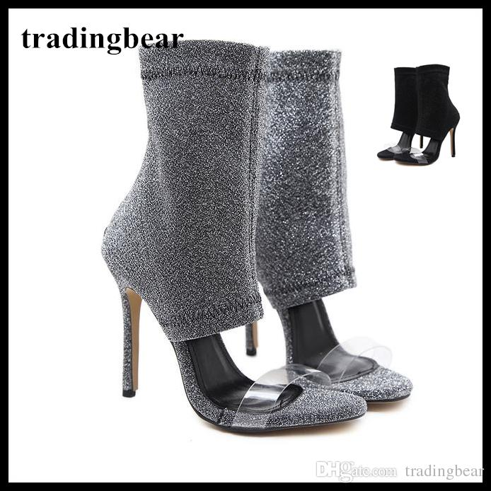 bb47e7861c23 Sexy Black Open Toe Clear Strap Zip Back Booties Glitter Fabric Women Party  Club Shoes Size 35 To 40 Orthopedic Shoes Comfortable Shoes From  Tradingbear