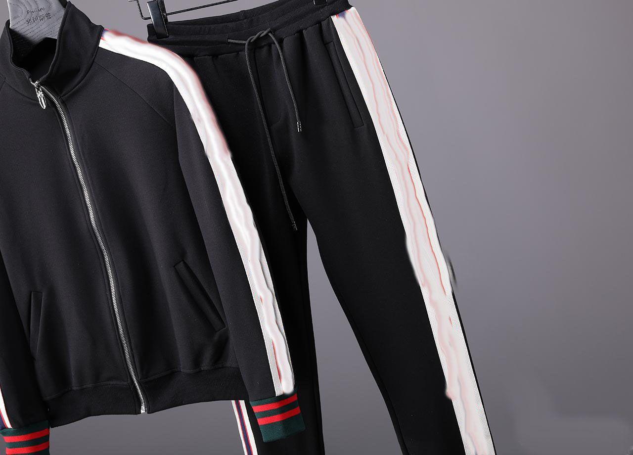 17 18 Designer Marcas Melhor Edição Outono Inverno Roupas Masculinas Vermelho Verde Stripe Sports Set Lettering Imprimir Zipper Set Sweatshirt Jacket.
