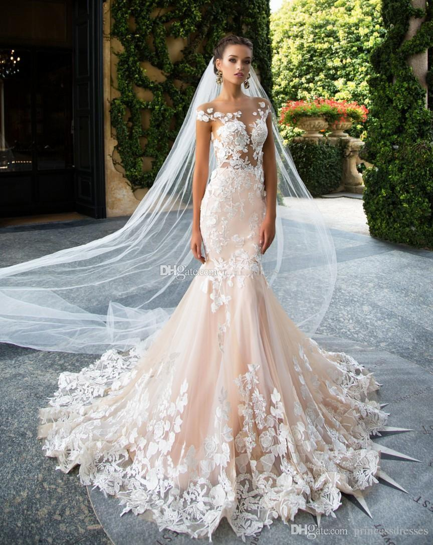 Hot Sale Gorgeous Lace Wedding Dresses Mermaid Sheer Neck Backless ...