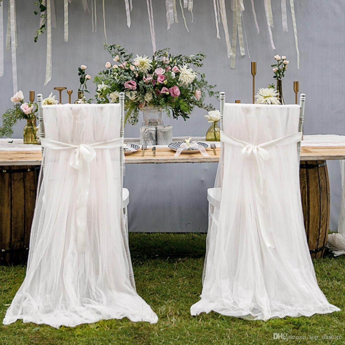 Chiffon Wedding Chair Covers With Sashes Romantic Chair Cover Decortive Long Tulle High Chair Skirt Slipcovers Wedding Supplies WCS01 Dining Room Chair Seat ... & Chiffon Wedding Chair Covers With Sashes Romantic Chair Cover ...