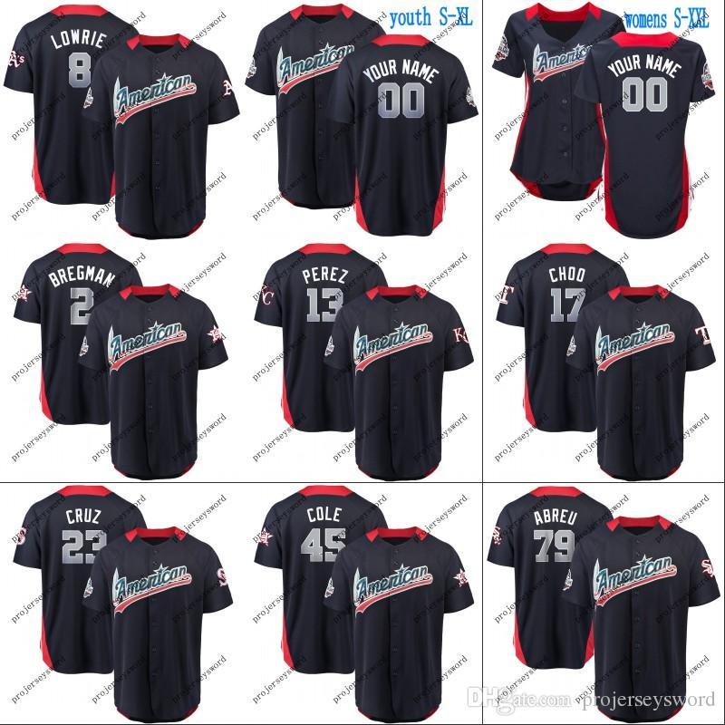 new product 15ef7 12027 American National League Jersey 2 Alex Bregman 13 Salvador Perez 23 Nelson  Cruz 33 JA Happ 45 Gerrit Cole 79 Jose Abreu 2018 All-Star Jersey