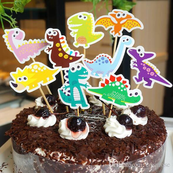 2019 Cartoon Dinosaur Cupcake Topper Pick Cake Kid Boy Baby Shower Birthday Party Decorations Supplies From Cosmose 2312