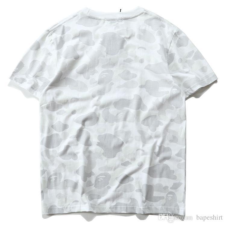 Camo Summer Hot BlackWhite Ape Menwomen Sportwear T-shirts Pull T-shirt en coton Crewneck Hip Hop T-shirts pour amoureux
