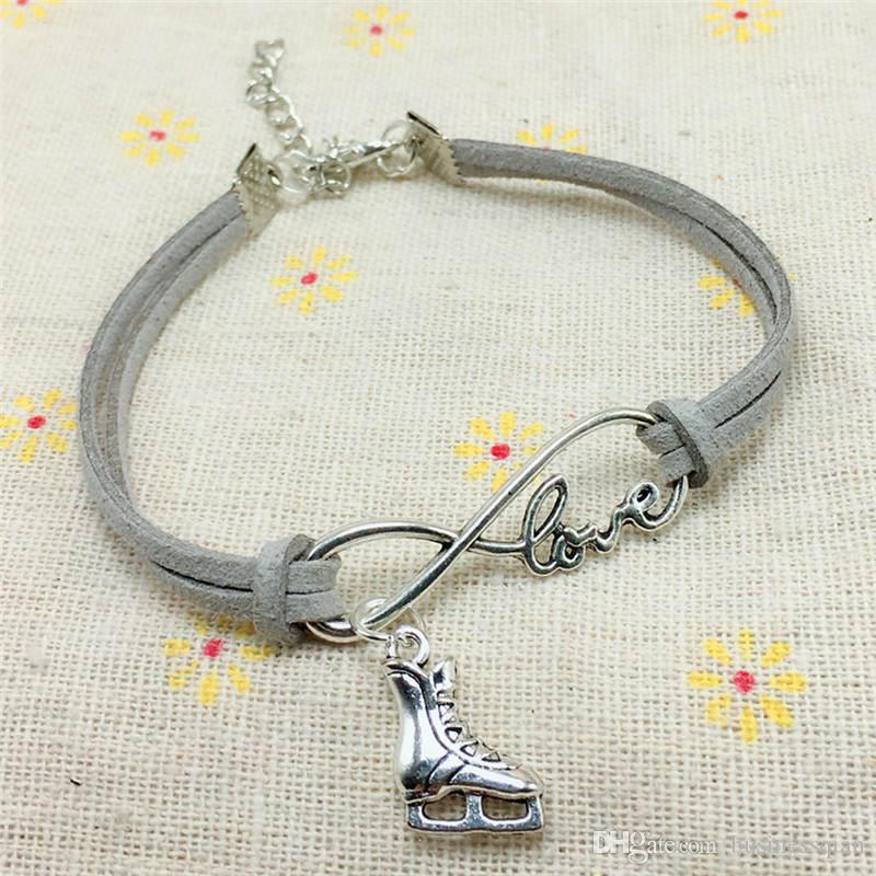2018 Casual Simple Antique Silver Love Infinity Ice Figure Skating Boots Shoes Charm Pendant Leather Bracelet Best Gift for Women men