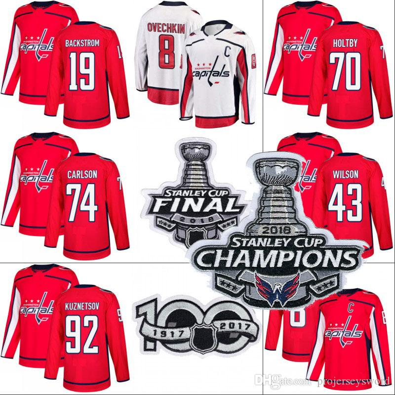 Washington Capitals 2018 Stanley Cup Champion Jersey 8 Alex Ovechkin 19  Nicklas Backstrom 70 Braden Holtby 77 T.J. Oshie Hockey Jerseys UK 2019  From ... 59a195a6d