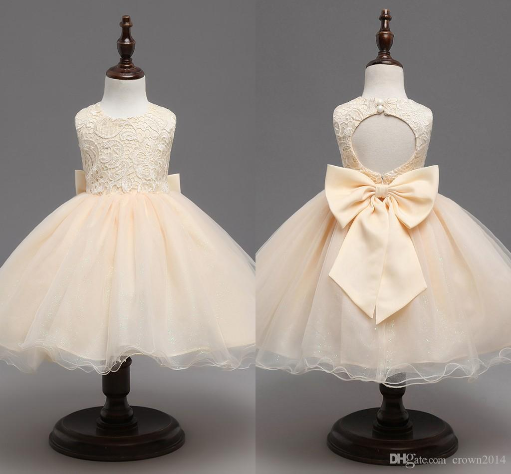 2ba6ebe37 Champagne 2018 Flower Girl Dresses With Bow Princess Baby Birthday ...