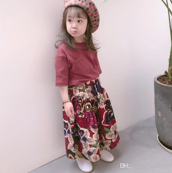 2018 Summer Baby Girls Clothes Set Kids Middle Sleeve Tops T-shirt + Florals Loose Pants Girls Outfits Children Set 13874