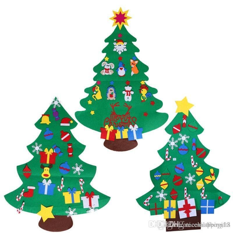 2018 Kids Felt Christmas Tree With Ornaments Xmas Gift Diy Door Wall ...