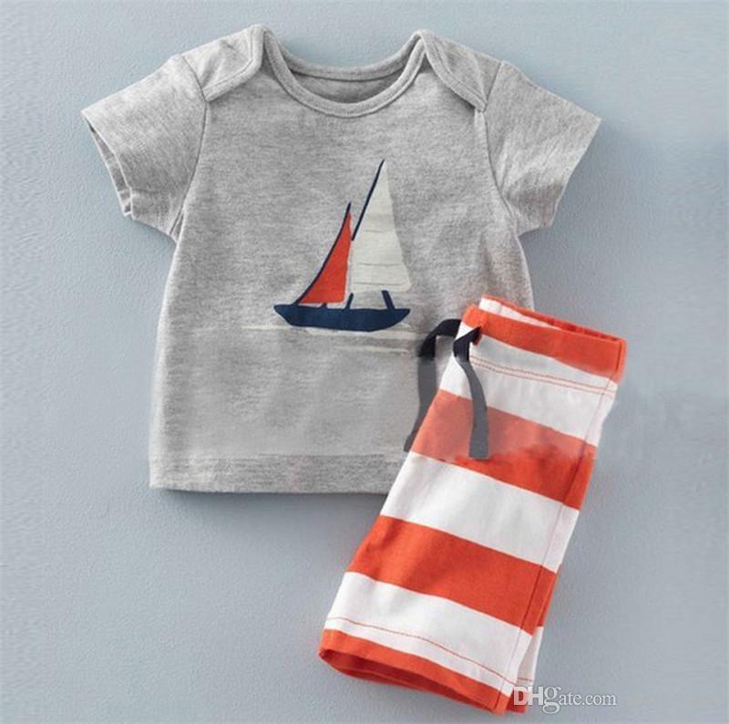Yaz Bebek Erkek Çapa Setleri Üst t shirt + Şerit Pantolon Çocuk Kısa Kollu Butik Kıyafetler Çocuklar Yaz Pijama Çocuk Giysileri Suits B11