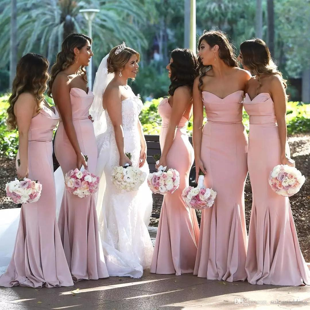 3ee39b7336c Blush Pink Arabic Mermaid Bridesmaid Dresses Custom Sweetheart Pleats Plus  Size Wedding Guest Dresses Long Floor Length Maid Of Honor Gowns Lavender  ...