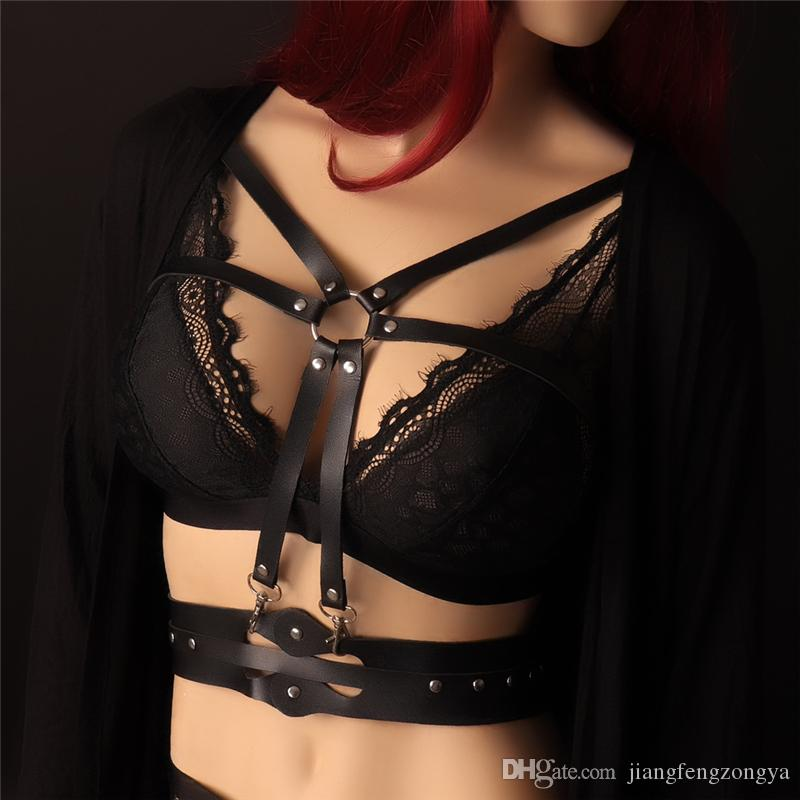19f443377 2019 2018 NHarajuku Lingerie Sexy Hot Erotic Harness Belts Bondage  Suspender Belt Gothic Punk Style Pu Leather Harness Garters From  Jiangfengzongya
